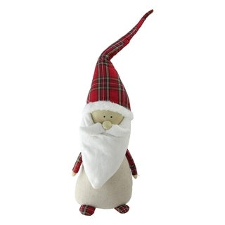 "24"" Plaid and Neutral Standing Decorative Santa Gnome Tabletop Decoration"