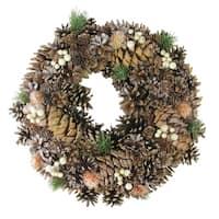 "15"" Autumn Foliage Pine Cone Artificial Thanksgiving Wreath - Unlit"