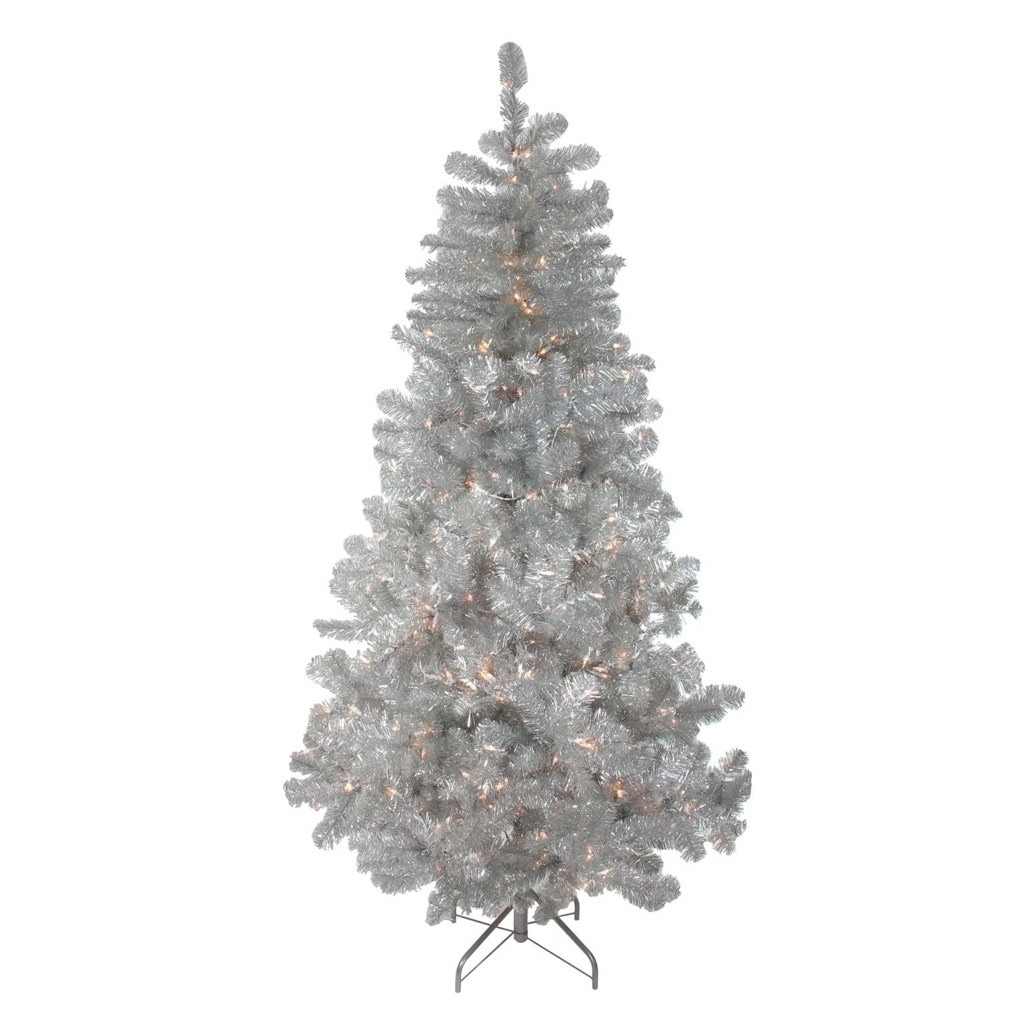 Tinsel Christmas Tree.6 5 Pre Lit Silver Metallic Artificial Tinsel Christmas Tree Clear Lights