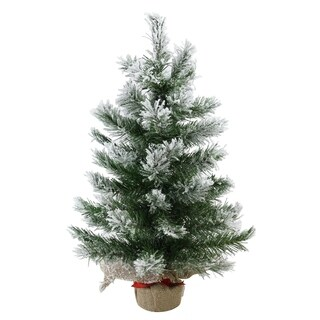 "24"" Flocked Pine Artificial Christmas Tree in Burlap Base - Unlit"