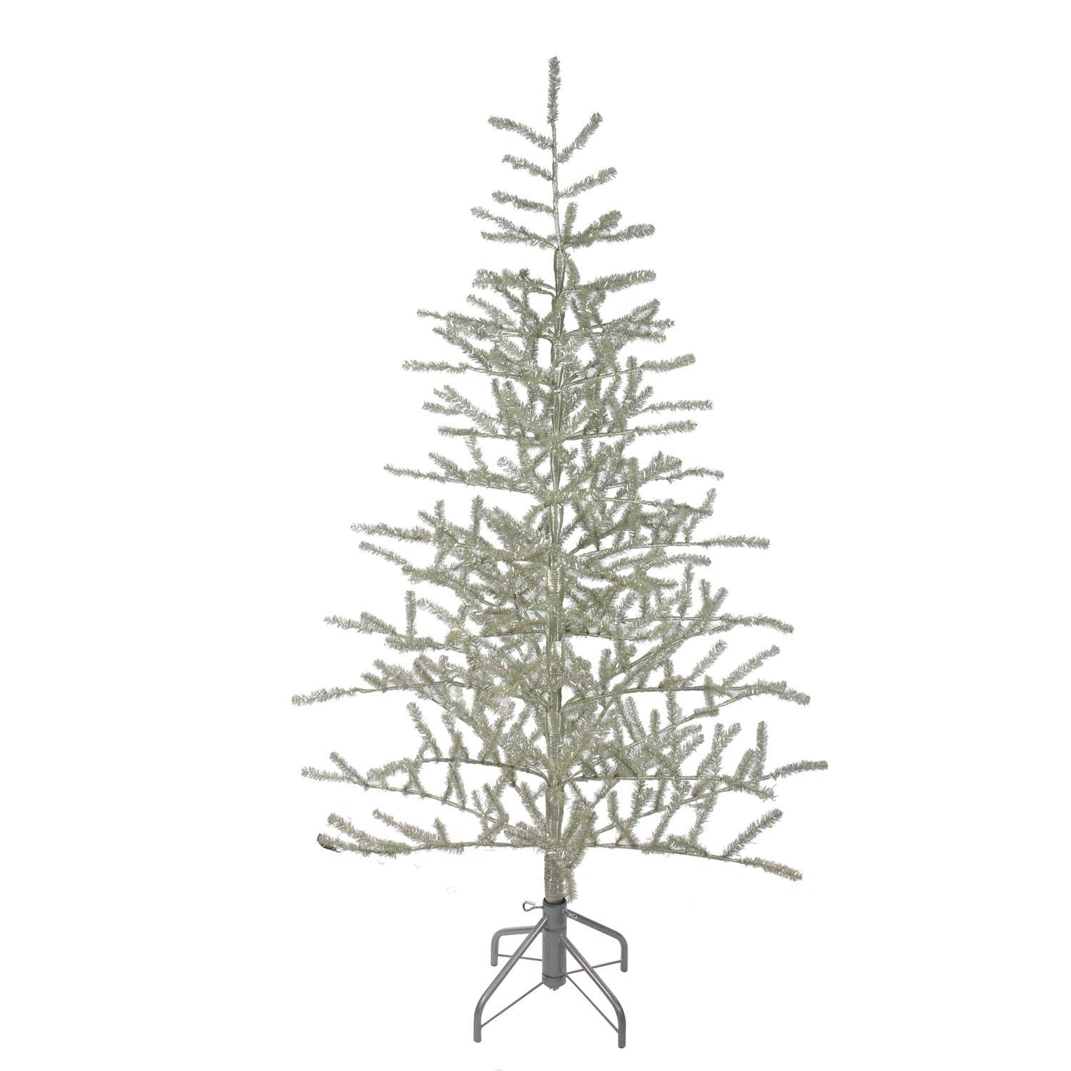 Tinsel Christmas Tree.5 Champagne Silver Metallic Artificial Tinsel Christmas Tree Unlit