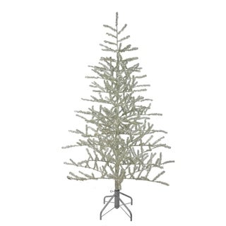 5' Champagne Silver Metallic Artificial Tinsel Christmas Tree - Unlit