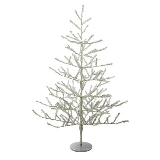 3' Shiny Silver Tinsel Artificial Christmas Twig Tree - Unlit