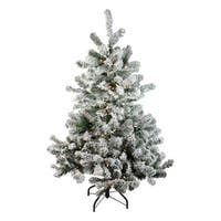 "4.5"" Pre-Lit Flocked Natural Emerald Artificial Christmas Tree - Warm Clear Lights"