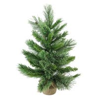 """24"""" Mixed Cashmere Pine Artificial Christmas Tree in Burlap Base - Unlit"""