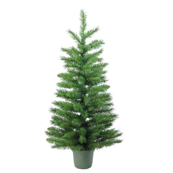 3 slim green walkway artificial potted christmas tree unlit - Potted Christmas Tree