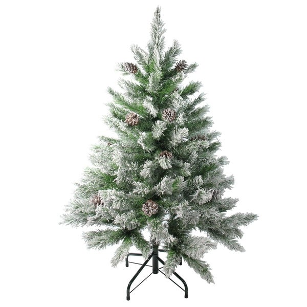Artificial Christmas Tree With Pine Cones: Shop 4' Flocked Angel Pine With Pine Cones Artificial