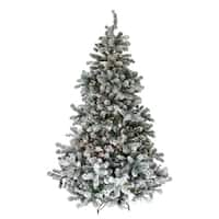 7.5' Pre-Lit Flocked Natural Emerald Artificial Christmas Tree - Warm Clear Lights