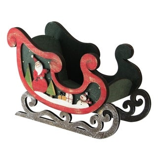 """8"""" Wooden Santa Claus and Snowman Decorative Table Top Christmas Sleigh"""