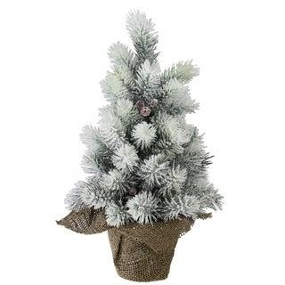 "15"" Flocked Mini Pine Christmas Tree with Berries in Burlap Covered Vase"