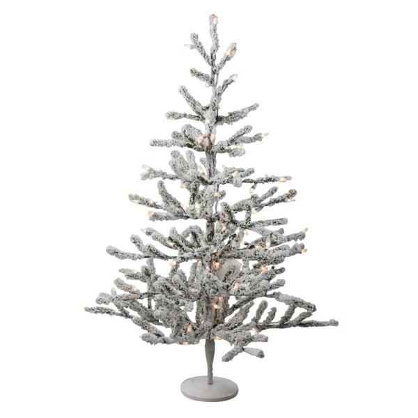 "Discount Pre Lit 12 Christmas Tree: Shop 36"" Pre-Lit Flocked Alpine Coral Artificial Christmas"
