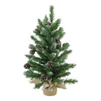 "24"" Frosted Norway Pine with Pine Cones Artificial Christmas Tree in Burlap Base - Unlit"