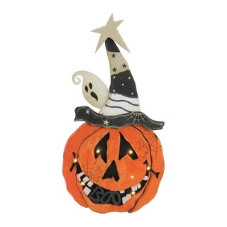 """13"""" Battery Operated LED Lighted Pumpkin Standing Wood Halloween Decoration"""