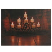 "LED Lighted Flickering Candles in a Fireplace Canvas Wall Art 12"" x 15.75"""