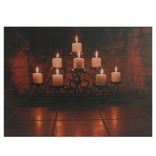 """LED Lighted Flickering Candles in a Fireplace Canvas Wall Art 12"""" x 15.75"""""""