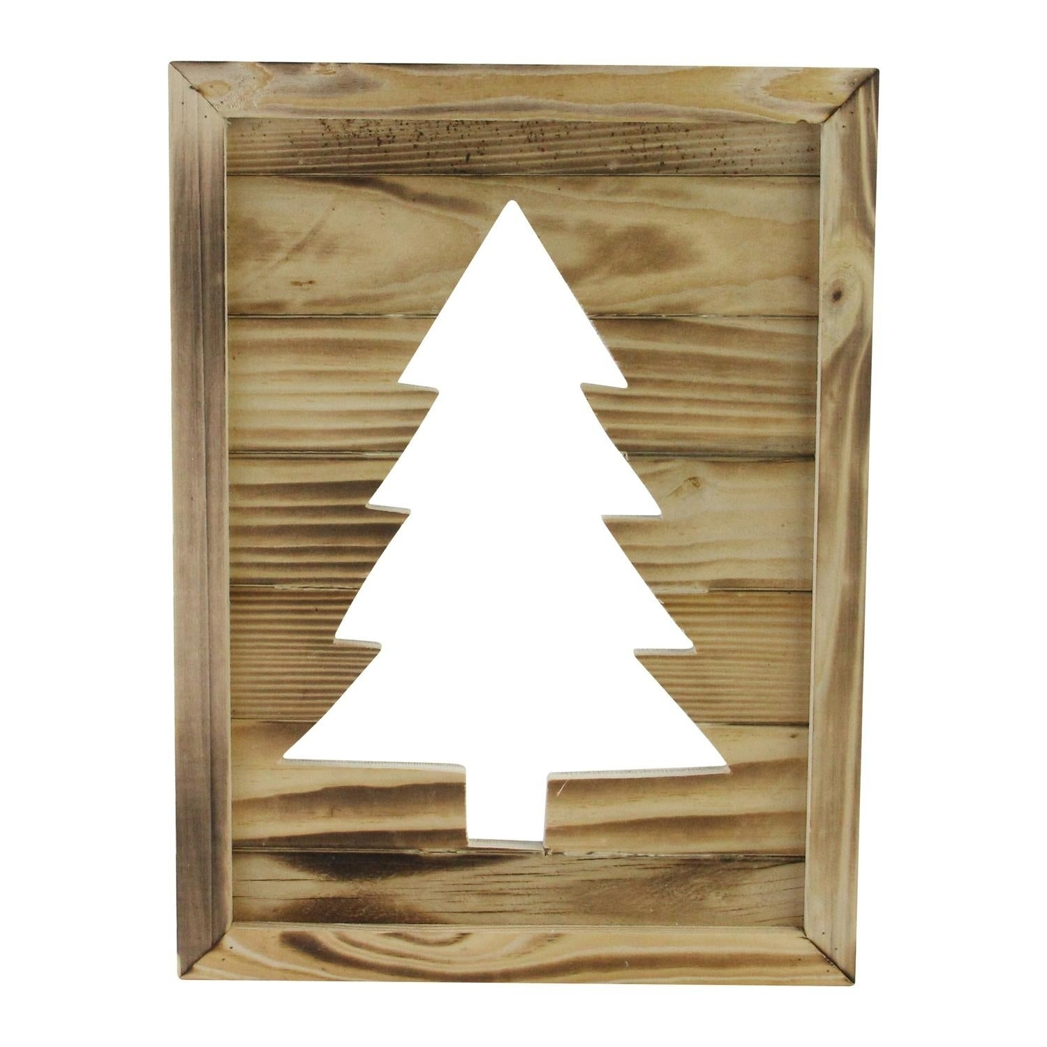 13 75 Framed Rustic Wood Christmas Tree Out Wall Hanging Decoration Overstock 18071979