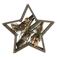 Decorated Mixed Branches in Star Wood Frame Christmas Table or Wall Decoration