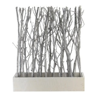 "18.5"" Standing Birch Branch Bouquet in Rustic White Box Table Top Decoration"