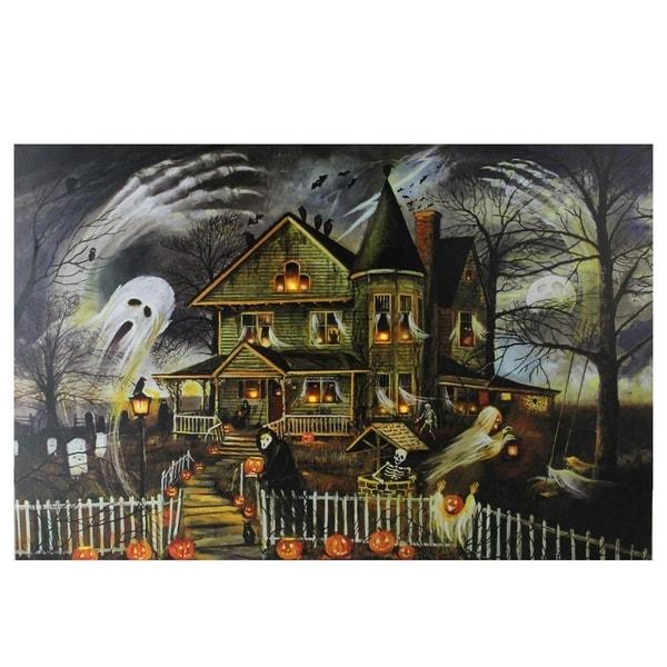 "Large LED Lighted Creepy Haunted House Halloween Canvas Wall Art 23.5"" x 15.5"""