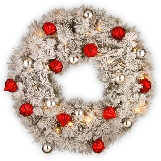 """30"""" Snowy Bristle Pine Wreath with Battery Operated LED Lights"""