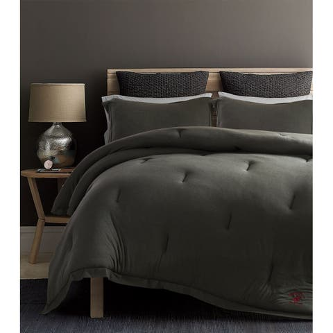 Beverly Hills Polo Club 3 Pieces Jersey Knit Comforter Set Queen Grey