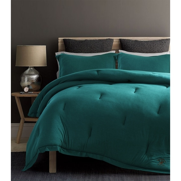 Shop Beverly Hills Polo Club 3 Pieces Jersey Knit Comforter Set