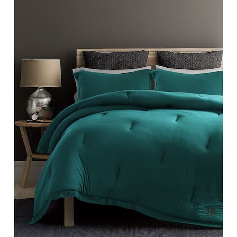 Beverly Hills Polo Club 3 Pieces Jersey Knit Comforter Set Queen Teal