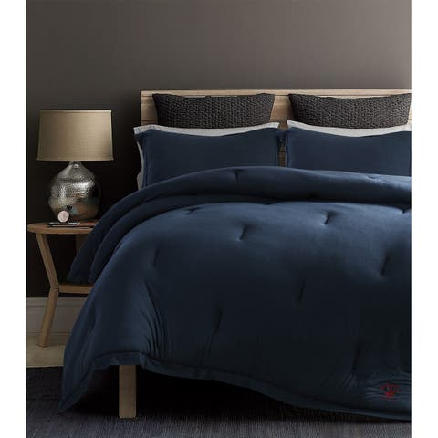 Beverly Hills Polo Club 3 Pieces Jersey Knit Comforter Set King Blue