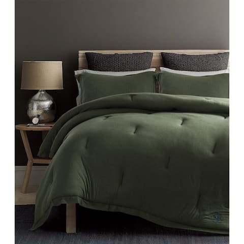 Beverly Hills Polo Club 3 Pieces Jersey Knit Comforter Set King Green