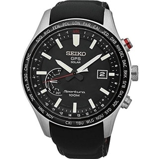 Seiko SSF005 Sportura GPS Solar World Time Perpetual Calendar Watch - Black