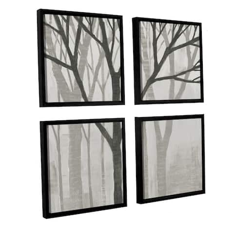 Katherine Lovell 'Spring Trees Greystone II' 4-piece Floater-framed Canvas Square Set
