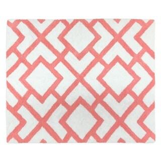 Sweet Jojo Designs White and Coral Mod Diamond Collection Floor Rug