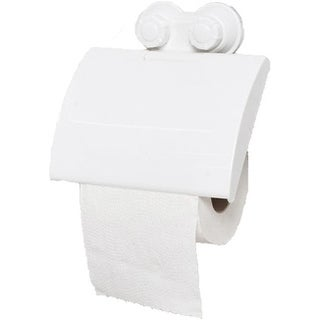 Evideco Toilet Tissue Roll Dispenser and Holder with 2 Screw-Top Suction Cups White