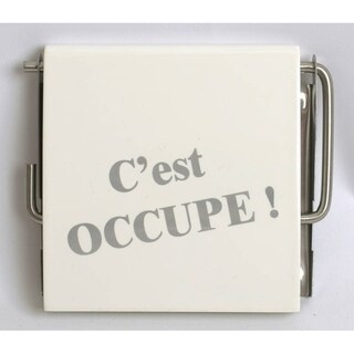 Evideco Wall Mounted Photoprint Toilet Tissue Roll Holder Karamel 'C'est occupé' White