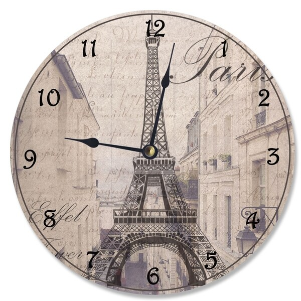 La Tour Eiffel Sepia Photogram Vanity Clock