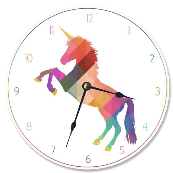 Geometric Rainbow Unicorn Vanity Clock