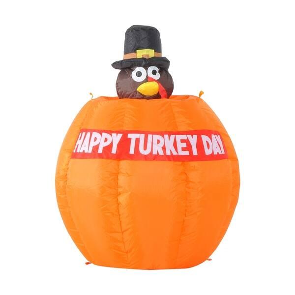 Homcom 4 Outdoor Animated Thanksgiving Inflatable Pilgrim Turkey In Pumpkin Overstock 18072229