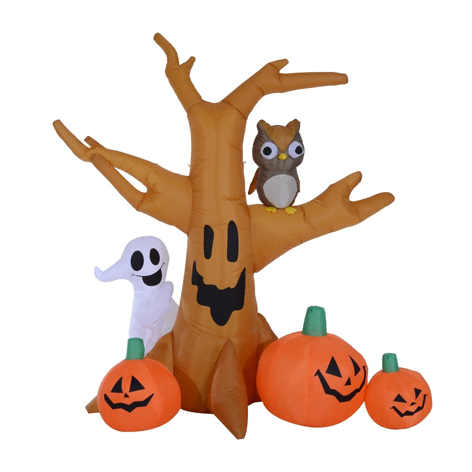 Image of: Shop Black Friday Deals On 7 5 Tall Outdoor Lighted Airblown Inflatable Halloween Decoration Haunted Tree With Owl Ghost Pumpkins Overstock 18072230
