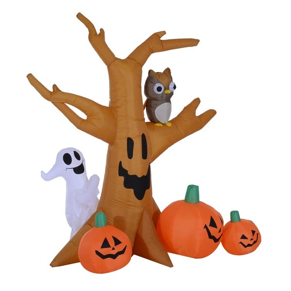 7.5' Tall Outdoor Lighted Airblown Inflatable Halloween Decoration - Haunted Tree with Owl / Ghost / Pumpkins. Opens flyout.