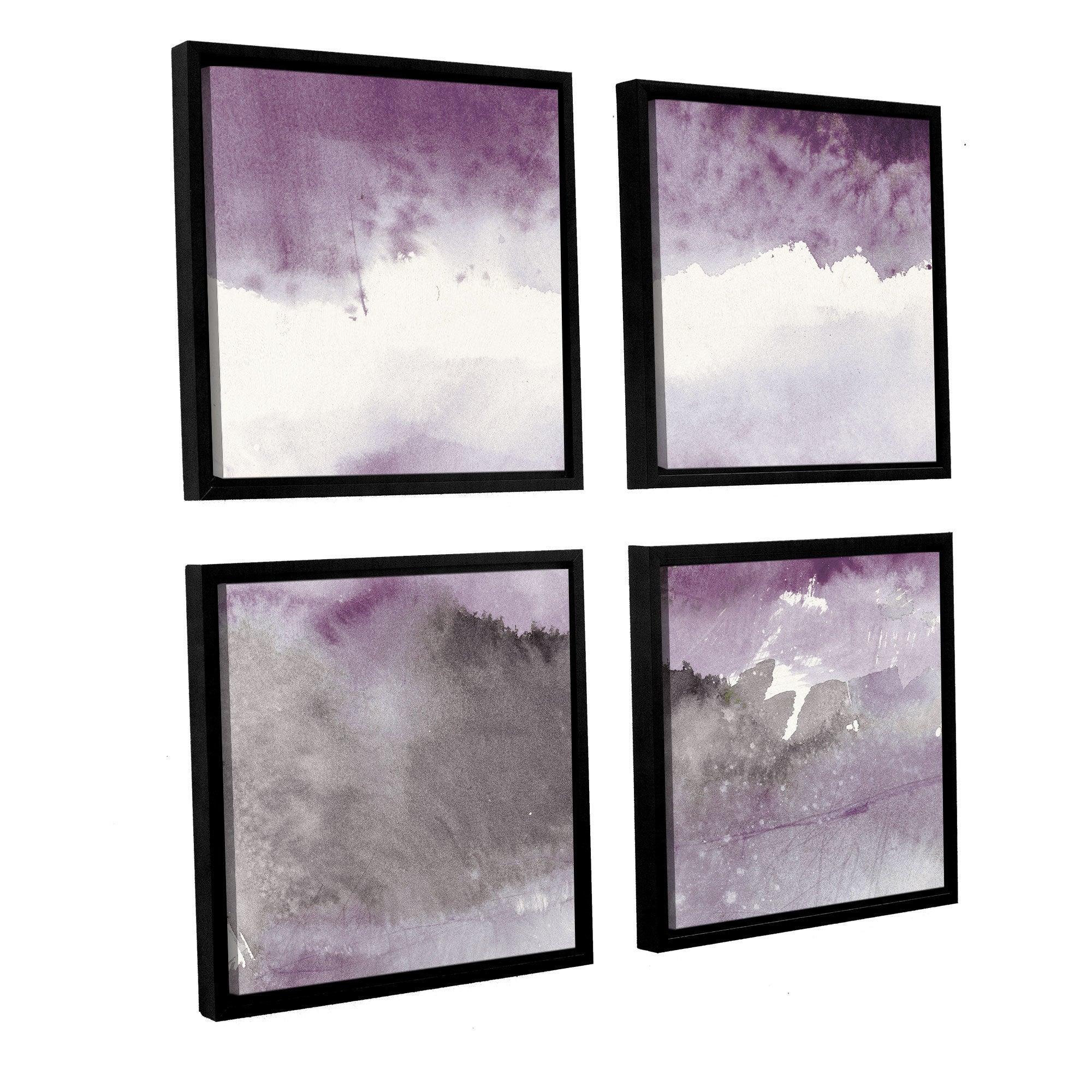 Mike Schick Midnight At The Lake Iii Amethyst And Grey 4 Piece Floater Framed Canvas Square Set Overstock 18072250
