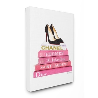 Glam Pink Fashion Books w/ Pumps Stretched Canvas Wall Art