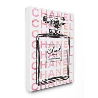 Glam Perfume Bottle w/ Words Stretched Canvas Wall Art