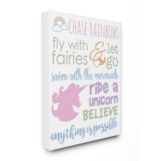 Chase Rainbows Believe Typography Stretched Canvas Wall Art