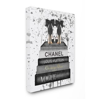 Glam Fashion Books w/ Bow Pumps Stretched Canvas Wall Art
