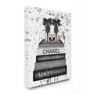 Glam Fashion Books w/ Bow Pumps Stretched Canvas Wall Art (3 options available)