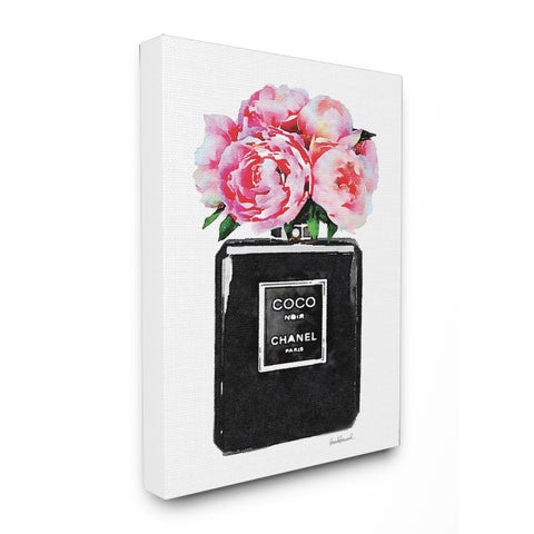 Glam Perfume Bottle w/ Peony Stretched Canvas Wall Art