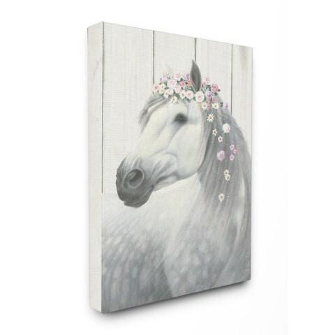 Spirit Stallion Horse w/ Crown Stretched Canvas Wall Art