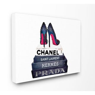 Glam Fashion Books w/ Stud Pumps Stretched Canvas Wall Art