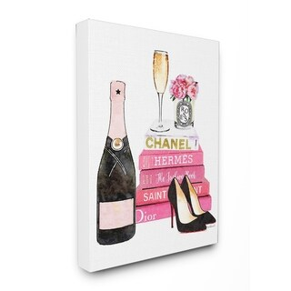 Glam Pink Fashion Books Stretched Canvas Wall Art