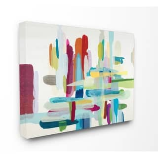 The Curated Nomad Par Colorful Cross Hatch Abstraction Stretched Canvas Wall Art
